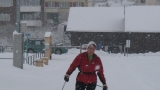 Langlaufen im Schneegestöber
